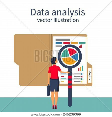 Data Analysis. Businesswoman Is Studying Statistical Datawith Charts, Diagrams. Documents For Financ