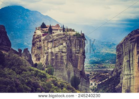 Monastery Of The Holy Trinity On Cliff. Greek Destinations. The Meteora Monasteries, Greece Kalambak