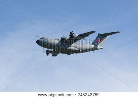 Cosford Shropshire United Kingdom - June 10 2018: Airbus A400m Atlas Military Transport Aircraft Of