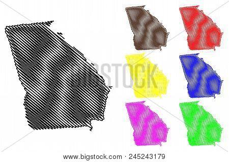 Georgia Map Vector Illustration, Scribble Sketch Georgia Map Black, Red, Blue, Green, Yellow, Purple