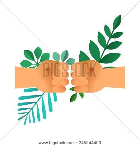 Fist bump hands with green leaves on isolated background. Nature help teamwork concept or environment conservation team illustration. EPS10 vector. poster