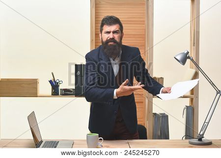 Portrait Of Angry Bearded Businessman. Businessman Screaming. Angry Businessman In Suit. Businessman