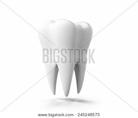 Photo-realistic Illustration Of A White Tooth - Isolated Icon. Tooth Isolated On White Background. 3