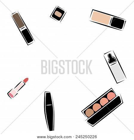 Mascara, Lipstick, Blush, Tonic, Base, Shadows, Eyeliner, Eyebrow, For Lips, Foundation. A Set Of Ve