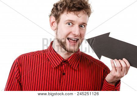 Healthy And Perfect Smile. Man Showing His Smiling Mouth By Black Arrow Sign. Young Satisfied Person