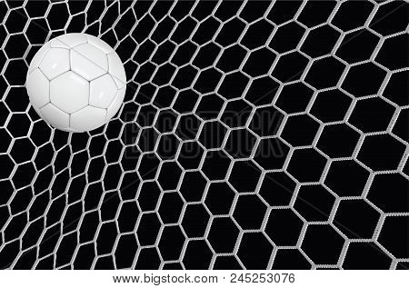 Vector Realistic Soccer Ball Or Football Ball In Net On Black Background. 3d Style Vector Ball.