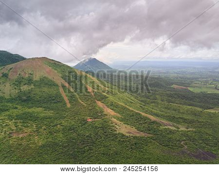 Aerial lnadscape of Nicaragua country. Jungle in landscape mountain of central america poster