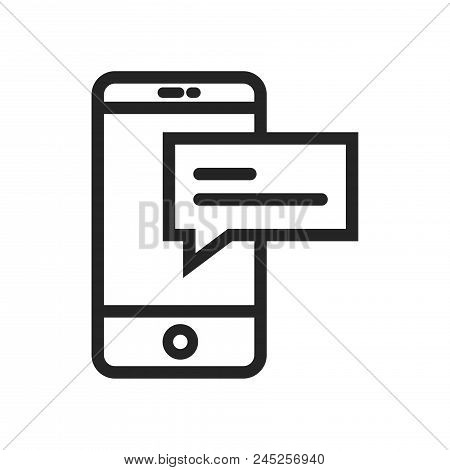 Smartphone And Text Icon Simple Vector Sign And Modern Symbol. Smartphone And Text Vector Icon Illus