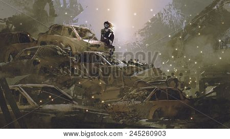 Post-apocalyptic Scene Showing The Woman With A Mask Sitting On Pile Of Wrecked Cars, Digital Art St