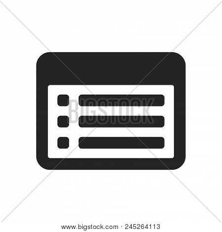 List On Window Icon Simple Vector Sign And Modern Symbol. List On Window Vector Icon Illustration, E
