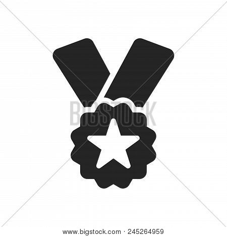 Ribbon Badge Award Icon Simple Vector Sign And Modern Symbol. Ribbon Badge Award Vector Icon Illustr