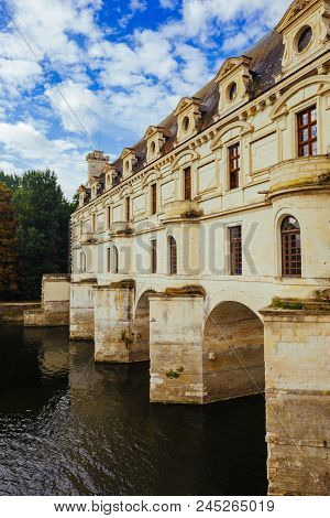 July 23, 2017 The Castle Of Chenonceau. France. The Facade Of The Medieval Castle Of Ladies. The Roy