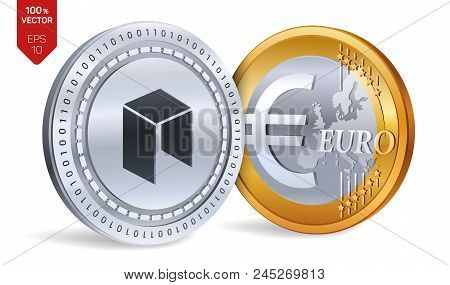 Neo. Euro Coin. 3d Isometric Physical Coins. Digital Currency. Cryptocurrency. Golden And Silver Coi