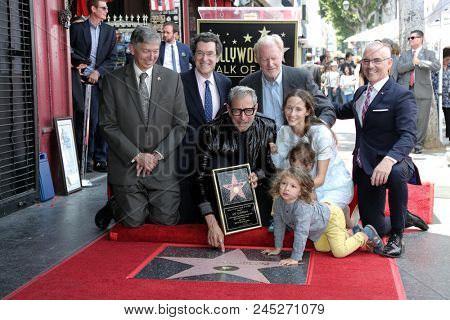 LOS ANGELES - JUN 14:  Leron Gubler, Norm Eisen, Jeff Goldblum, Ed Begley Jr, Charlie, River, and Emilie Goldblum, Mitch O'Farrell at the Jeff Goldblum WOF ceremony in Los Angeles, CA