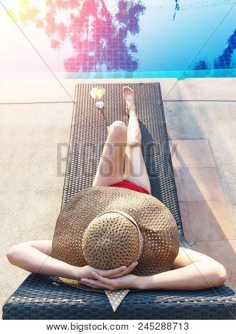 Real Female Beauty Relaxing At Swimming Pool, Summer Vacation Concept,women In Swimsuit Relax With C