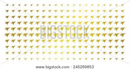 Airplane Intercepter Icon Golden Halftone Pattern. Vector Airplane Intercepter Items Are Arranged In