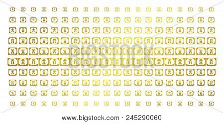 Diploma Icon Golden Halftone Pattern. Vector Diploma Pictograms Are Organized Into Halftone Grid Wit