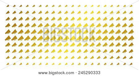 Megaphone Icon Gold Colored Halftone Pattern. Vector Megaphone Symbols Are Organized Into Halftone A
