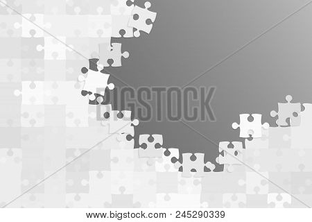 Grey Background Puzzle. Jigsaw Puzzle Banner. Vector Illustration Template Shape. Abstract Backgroun