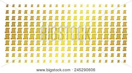 Script Roll Icon Golden Halftone Pattern. Vector Script Roll Items Are Organized Into Halftone Matri
