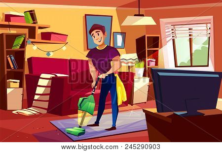 Man Cleaning Living Room Vector Illustration Of Househusband Or College Boy With Vacuum Cleaner On C
