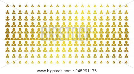 Boss Icon Gold Colored Halftone Pattern. Vector Boss Objects Are Arranged Into Halftone Grid With In