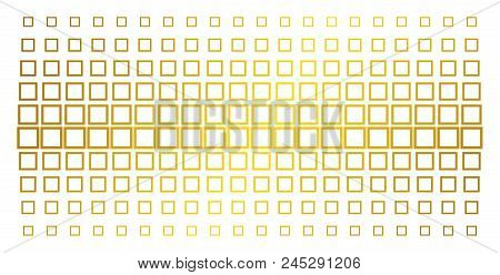Contour Square Icon Gold Halftone Pattern. Vector Contour Square Symbols Are Organized Into Halftone