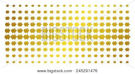 Piggy Bank Icon Gold Halftone Pattern. Vector Piggy Bank Objects Are Organized Into Halftone Grid Wi