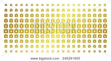 First Aid Kit Icon Gold Halftone Pattern. Vector First Aid Kit Items Are Organized Into Halftone Arr