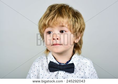 Kid Fashion. Small Boy In White Shirt. Close Up Portrait. Child Clothes. Fashionable Little Child In