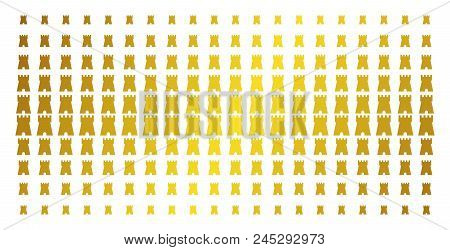 Bulwark Tower Icon Golden Halftone Pattern. Vector Bulwark Tower Symbols Are Organized Into Halftone