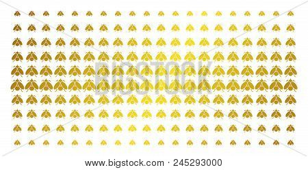 Fly Insect Icon Gold Colored Halftone Pattern. Vector Fly Insect Objects Are Arranged Into Halftone