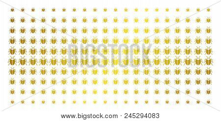 Bug Icon Gold Halftone Pattern. Vector Bug Shapes Are Arranged Into Halftone Array With Inclined Gol