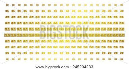 Dollar Banknote Icon Golden Halftone Pattern. Vector Dollar Banknote Symbols Are Organized Into Half