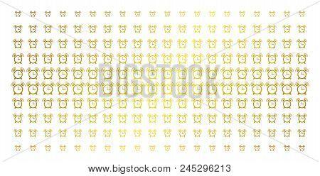 Buzzer Icon Gold Halftone Pattern. Vector Buzzer Items Are Organized Into Halftone Matrix With Incli