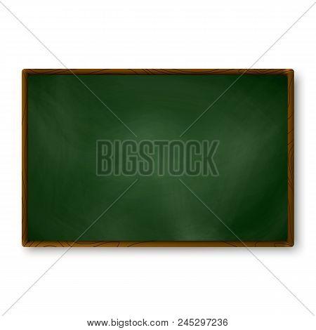 Empty Blackboard Dark Green Color On Wall. Chalkboard Template. School Blackboard Realistic Texture