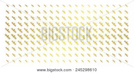 Satellite Icon Gold Halftone Pattern. Vector Satellite Shapes Are Arranged Into Halftone Grid With I