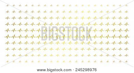 Pulse Icon Gold Colored Halftone Pattern. Vector Pulse Items Are Organized Into Halftone Array With