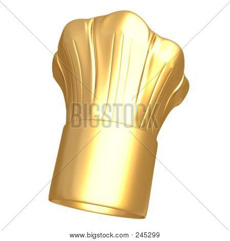 Sombrero de cocinero dorado