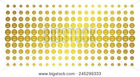 Pension Smiley Icon Golden Halftone Pattern. Vector Pension Smiley Items Are Organized Into Halftone