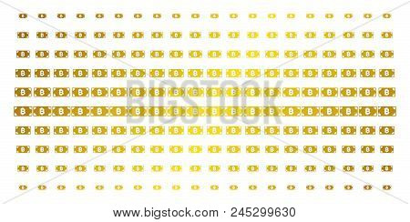 Bitcoin Cash Banknote Icon Golden Halftone Pattern. Vector Bitcoin Cash Banknote Objects Are Organiz