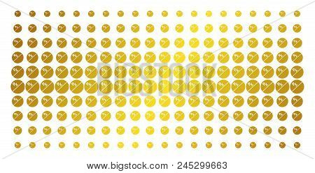Pharmacy Tablet Icon Gold Colored Halftone Pattern. Vector Pharmacy Tablet Symbols Are Arranged Into