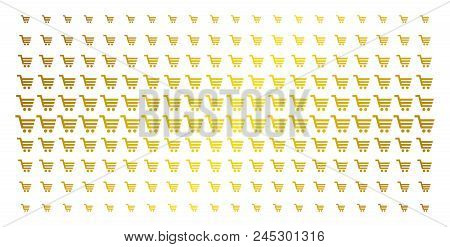 Shopping Cart Icon Gold Halftone Pattern. Vector Shopping Cart Pictograms Are Organized Into Halfton