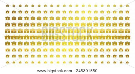 First Aid Toolbox Icon Gold Colored Halftone Pattern. Vector First Aid Toolbox Items Are Organized I