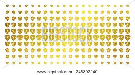 Electric Guard Icon Golden Halftone Pattern. Vector Electric Guard Symbols Are Arranged Into Halfton