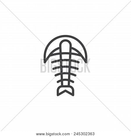 Arthropod Fossil Outline Icon. Linear Style Sign For Mobile Concept And Web Design. Trilobite Paleoz