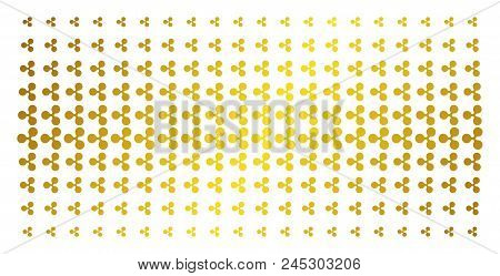 Ripple Currency Icon Golden Halftone Pattern. Vector Ripple Currency Symbols Are Organized Into Half