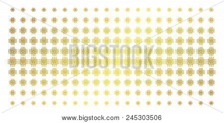 Cpu Circuit Icon Golden Halftone Pattern. Vector Cpu Circuit Objects Are Organized Into Halftone Mat