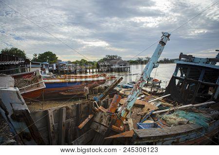 Chonburi Thailand - June 14,2016 : Damage Of Old Fishery Boat In Laem Chabang Fishing Village Chonbu