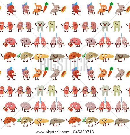 Human Organs Healthy And Unhealthy Vector Seamless Pattern Background. Medical Anatomic Funny Cartoo